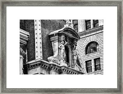 Philadelphia City Hall Window In Black And White Framed Print by Bill Cannon