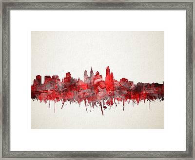 Philadelphia City Skyline Red Framed Print