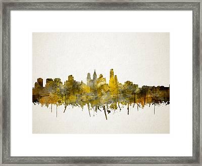 Philadelphia City Skyline Sepia Framed Print