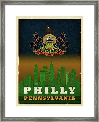 Philadelphia City Skyline State Flag Of Pennsylvania Art Poster Series 014 Framed Print by Design Turnpike
