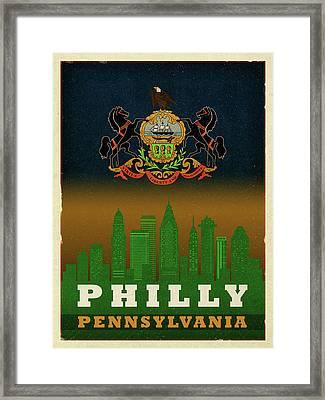 Philadelphia City Skyline State Flag Of Pennsylvania Art Poster Series 014 Framed Print