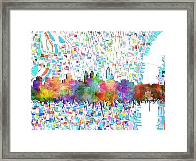Philadelphia City Skyline Watercolor 5 Framed Print