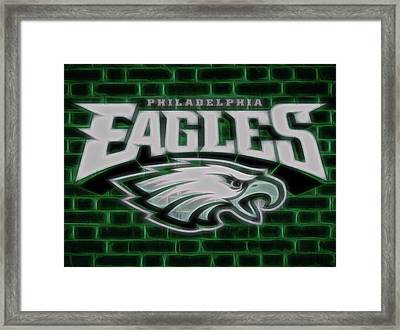 Philadelphia Eagles Electric Sign Framed Print by Dan Sproul