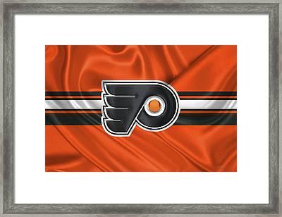 Philadelphia Flyers - 3 D Badge Over Silk Flag Framed Print by Serge Averbukh
