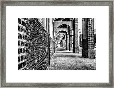 Philadelphia - Franklin Field Archway In Black And White Framed Print by Bill Cannon
