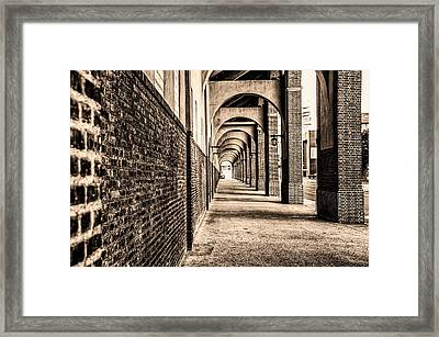 Philadelphia - Franklin Field Archway In Sepia Framed Print by Bill Cannon