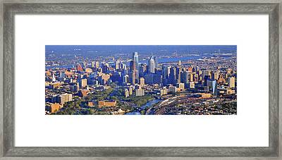 Philadelphia Museum Of Art And City Skyline Aerial Panorama Framed Print by Duncan Pearson