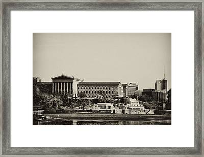 Philadelphia Museum Of Art And The Fairmount Waterworks From West River Drive In Black And White Framed Print