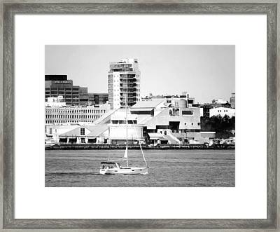 Philadelphia Pa - Sailboat By Penn's Landing Black And White Framed Print by Susan Savad