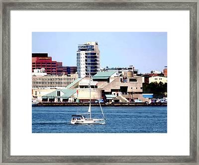 Philadelphia Pa - Sailboat By Penn's Landing Framed Print by Susan Savad