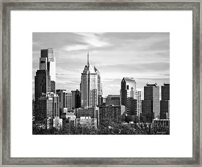 Philadelphia Pa Skyline II Black And White Framed Print by Susan Savad