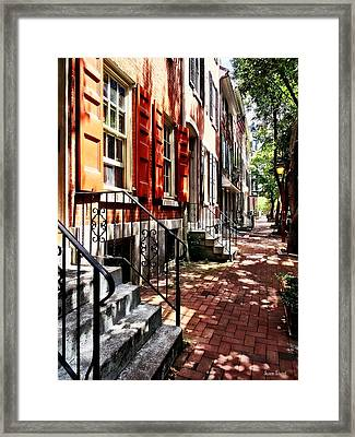 Philadelphia Pa Street With Orange Shutters Framed Print by Susan Savad