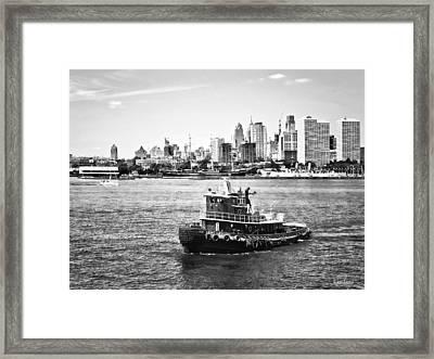 Philadelphia Pa - Tugboat By Philadelphia Skyline Black And White Framed Print by Susan Savad
