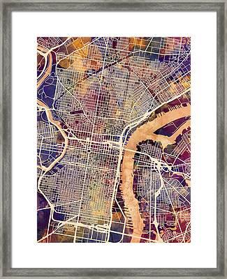 Philadelphia Pennsylvania City Street Map Framed Print