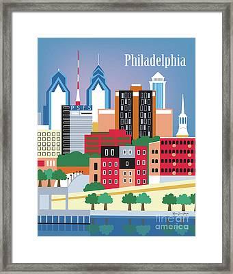 Philadelphia Pennsylvania Vertical Skyline Framed Print