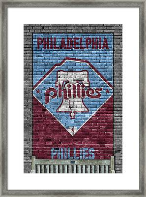 Philadelphia Phillies Brick Wall Framed Print