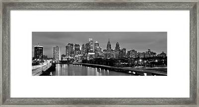 Philadelphia Philly Skyline At Dusk From Near South Bw Black And White Panorama Framed Print by Jon Holiday