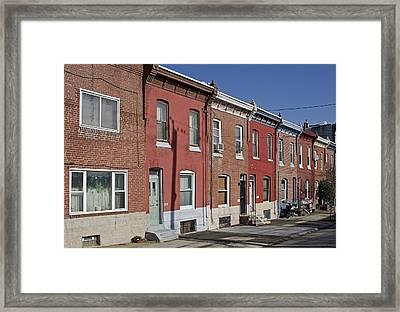 Philadelphia Row Houses Framed Print by Brendan Reals