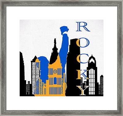 Philadelphia Skyline And Rocky Framed Print