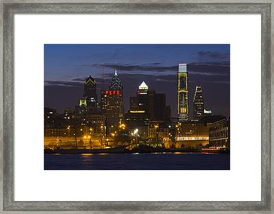 Philadelphia Skyline At Night Framed Print by Brendan Reals