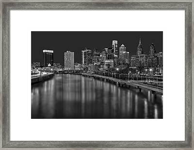 Philadelphia Skyline At Night Bw Framed Print