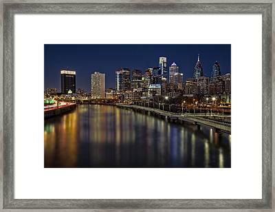 Philadelphia Skyline At Night Framed Print by Susan Candelario