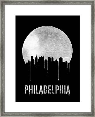 Philadelphia Skyline Black Framed Print by Naxart Studio