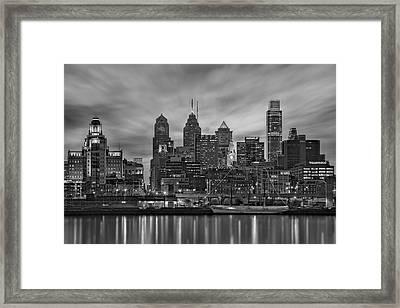 Philadelphia Skyline Bw Framed Print by Susan Candelario