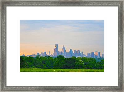 Philadelphia Skyline From West Lawn Of Fairmount Park Framed Print by Bill Cannon