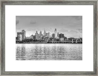 Philadelphia Skyline In Black And White Framed Print by Jennifer Ancker
