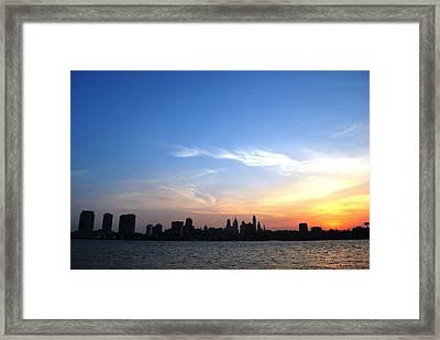 Philadelphia Skyline Low Horizon Sunset Framed Print