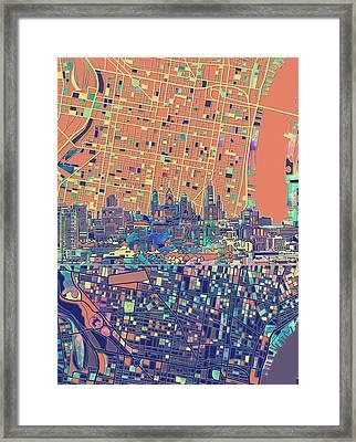 Philadelphia Skyline Map 2 Framed Print