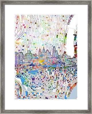 Philadelphia Skyline Map 3 Framed Print
