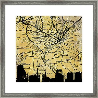 Philadelphia Skyline Map Framed Print