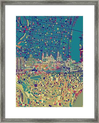 Philadelphia Skyline Map Framed Print