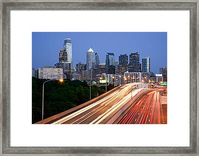 Philadelphia Skyline Night Framed Print