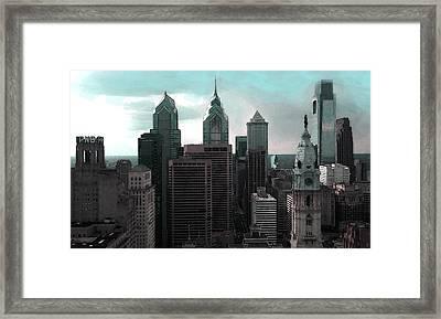 Philadelphia Skyline Painting 2 Framed Print by Enki Art