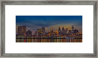 Philadelphia Skyline Panorama Framed Print by Susan Candelario