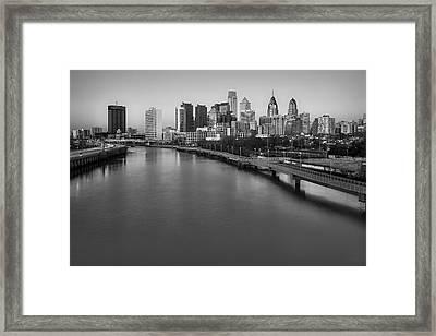 Philadelphia Skyline Pastels Bw Framed Print by Susan Candelario