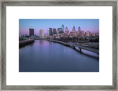Philadelphia Skyline Pastels Framed Print by Susan Candelario