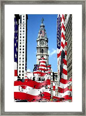 Philadelphia Stars And Stripes Collage Framed Print