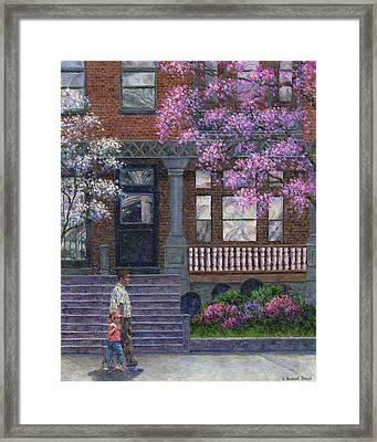 Philadelphia Street In Spring Framed Print