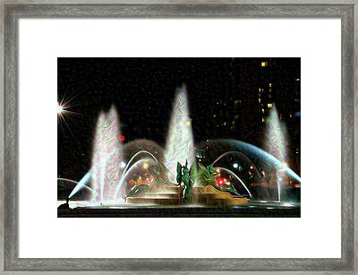 Philadelphia - Swann Fountain - Night Water Color Framed Print by Bill Cannon