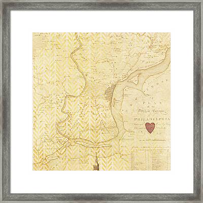 Philadelphia Vintage Map Framed Print
