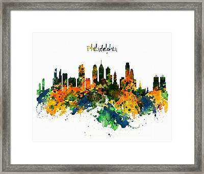 Philadelphia Watercolor Skyline Framed Print