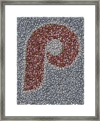 Philidelphia Phillies Baseballs Mosaic Framed Print