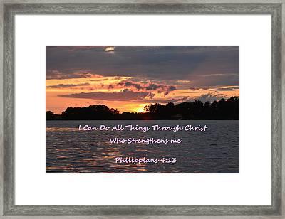 Philippians 4 13 Sunset Framed Print by Lisa Wooten