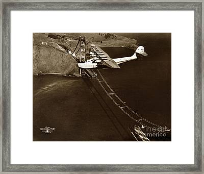 Philippine Clipper A Pan Am Clipper Over The Golden Gate Bridge  1935 Framed Print