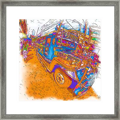 Philippine Girl Walking By A Jeepney Framed Print