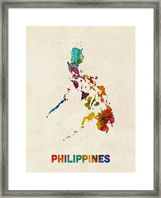 Philippines Watercolor Map Framed Print